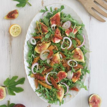 Fig & wheat berries salad with balsamic ouzo dressing