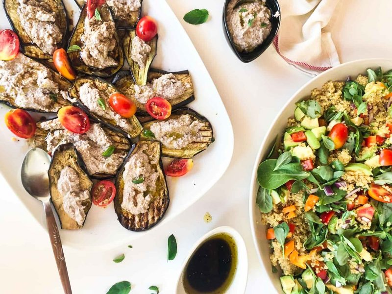 Quinoa salad with grilled aubergines & walnut spread