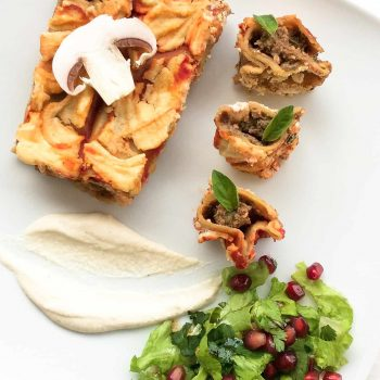 Vegan Cannelloni with mushrooms and almond bechamel