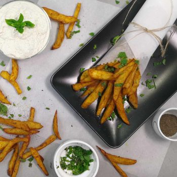 Turmeric Fries with homemade vegan tzatziki dip